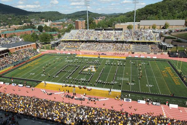 The Marching Mountaineers add to the spirit of Appalachian football